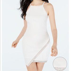 Asymmetrical-hem rhinestone dress in white